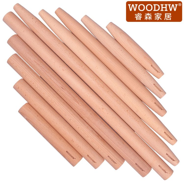 睿森实木擀面杖 木制大码面杖擀面棍 榉木杆面棒赶面棒 可订制