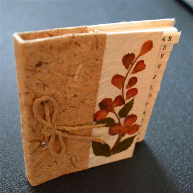 创意手工干花纸拼音排序电话本记事本通讯录小礼品伴手东南亚风格