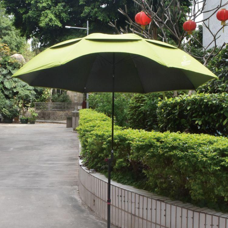 厂家直销2米*8K万向轻便双层户外钓鱼伞铝合金广告沙滩伞可印LOGO