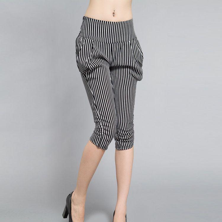 厂家直销一件代发2018夏季新款 条纹显瘦七分大码哈伦女裤