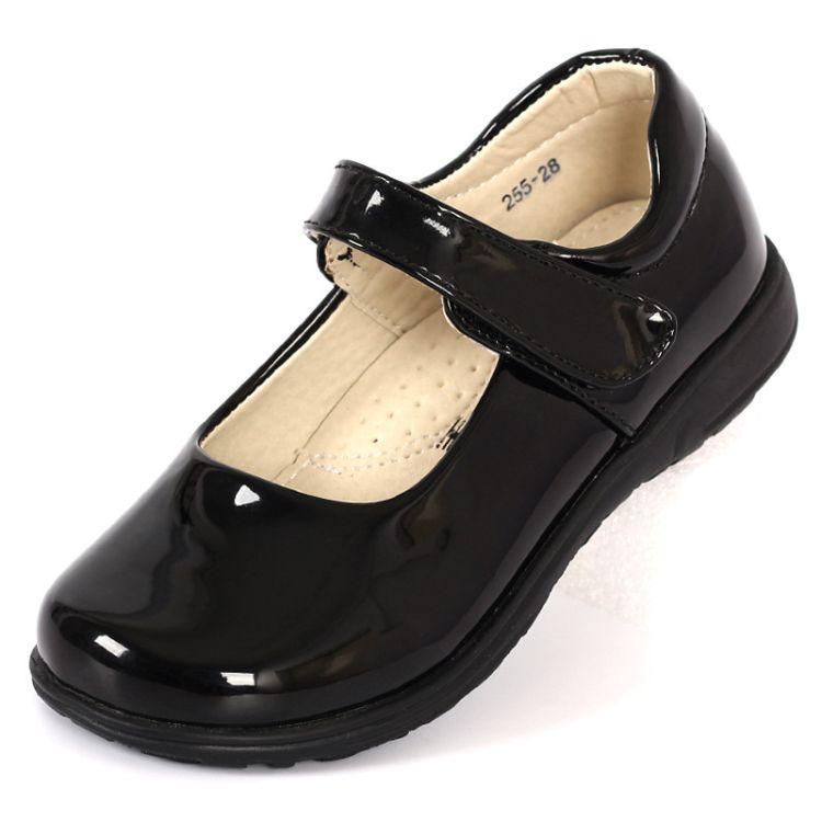 女童学生鞋校园儿童表演演出舞蹈鞋合唱团黑色光面厂家批发
