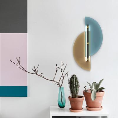 北欧轻奢卧室壁灯创意客厅背景墙过道走廊床头灯简约现代玻璃壁灯