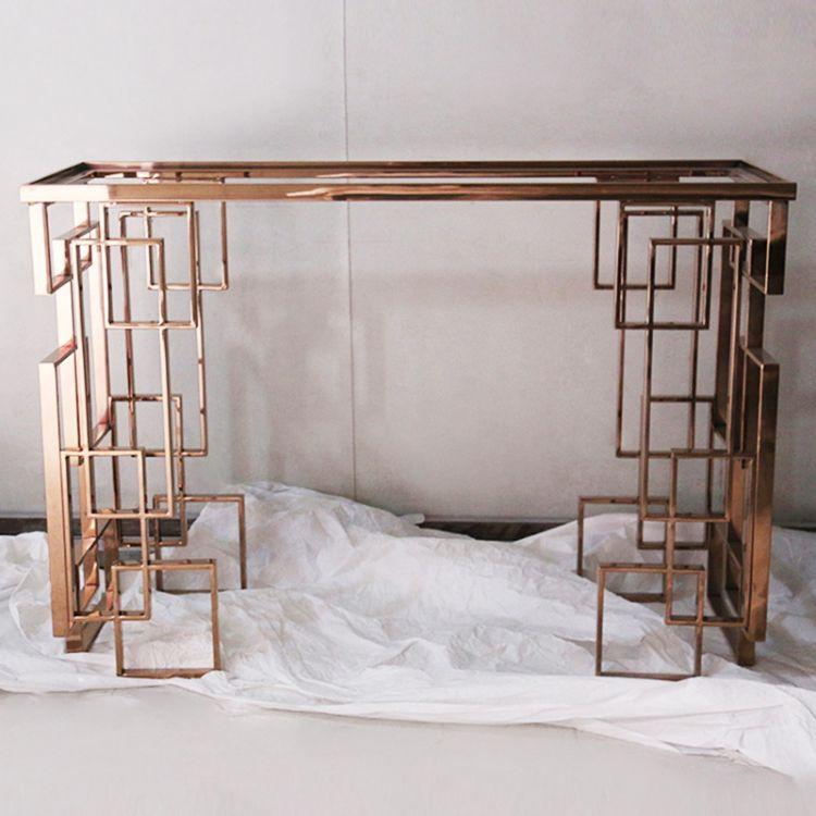 不锈钢镜面玫瑰金架厂家直销 古典新中式玫瑰镂空桌子角架可定制