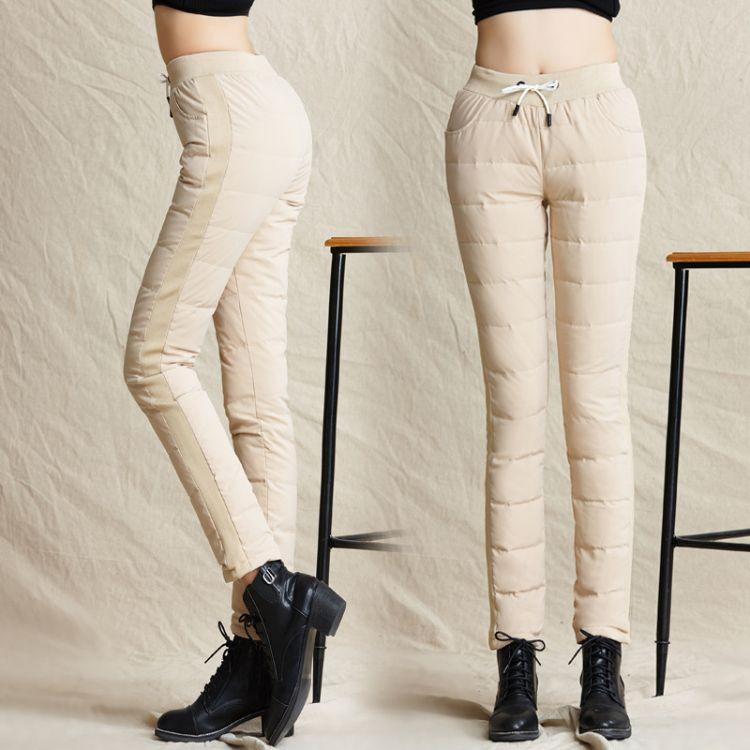一件代发加厚显瘦小脚裤白鸭绒羽绒裤女式秋冬保暖外穿妈妈装裤子