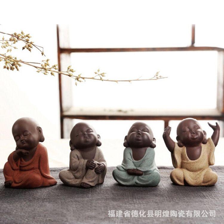 包邮紫砂茶宠陶瓷彩砂陶小和尚手工茶玩茶具配件精美家居摆件