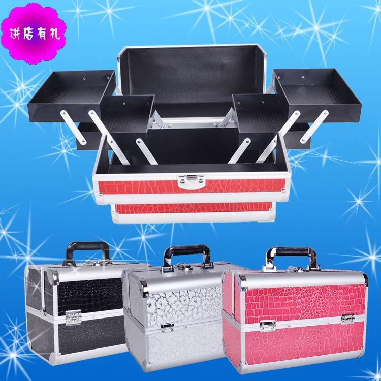 薇西尔铝合金双开手提化妆箱多层内盒美容美发纹绣学生专用工具箱
