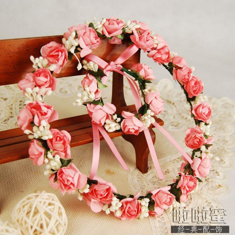 韩式森女拍摄度假花环藤条仿真头花新娘伴娘儿童婚礼手环头饰