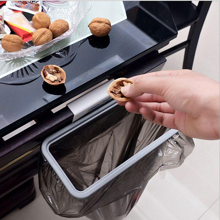 厨房门背式手提垃圾袋支架 橱柜垃圾挂架 门后抹布架垃圾袋收纳架