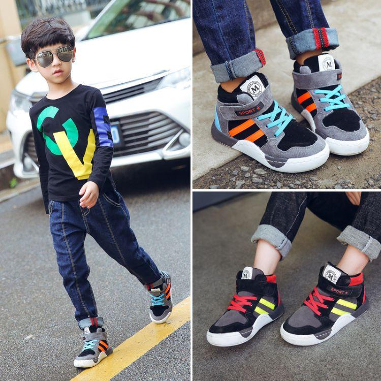 儿童棉鞋男童2018新款冬季加绒运动女童短棉靴中大童保暖高帮板鞋
