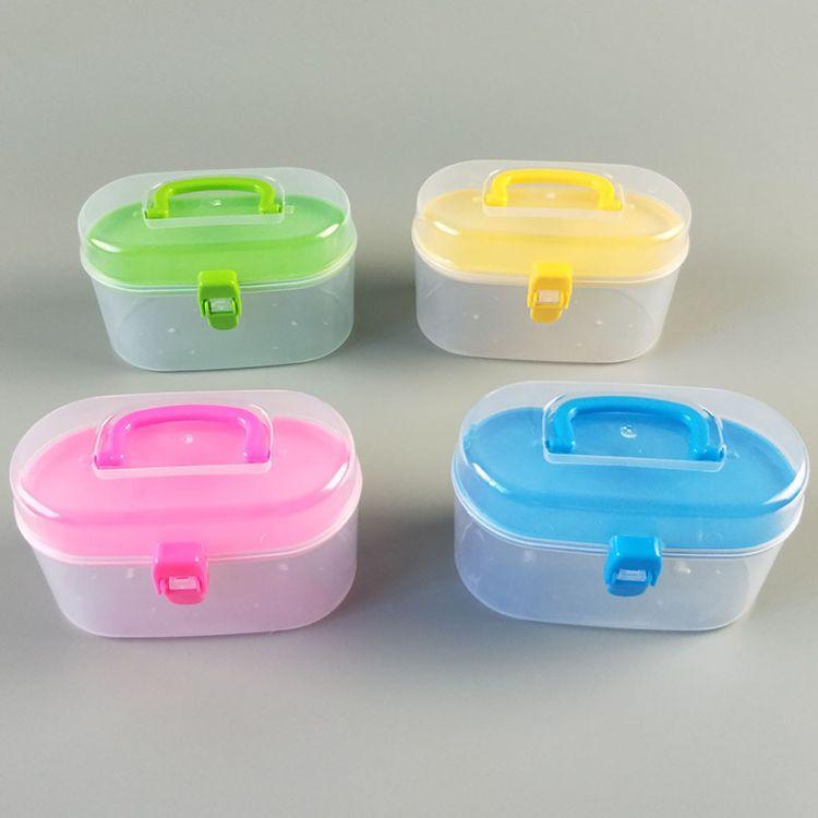厂家迷你双层塑料针线盒 橡皮泥玩具收纳盒 家用缝纫针线空盒批发