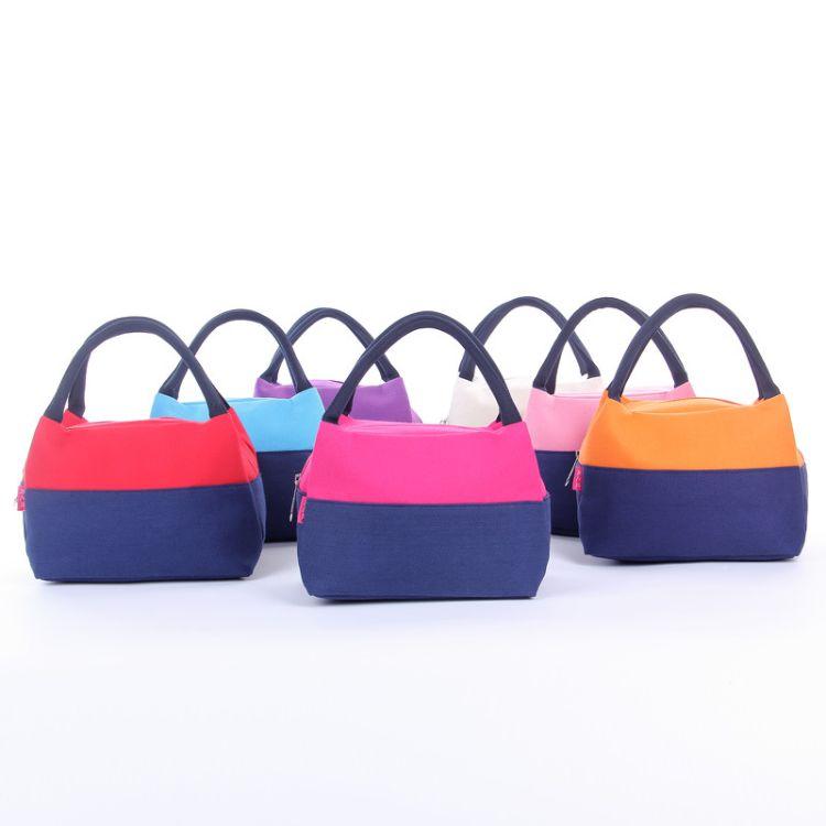 新款拼色便当包 加厚帆布手提饭盒袋 野餐户外餐包 冰包 妈咪包
