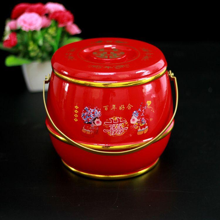 结婚新娘陪嫁子孙桶宝桶单桶摆件好合红色实木单桶【18*17.5cm】