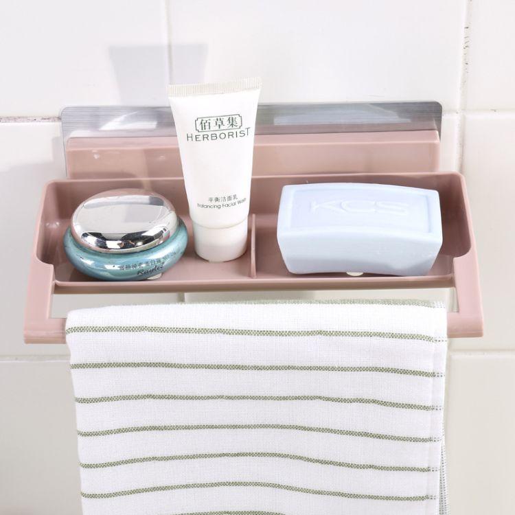 厂家批发无痕贴卫生间置物架强力吸盘毛巾架壁挂沥水塑料香皂盒
