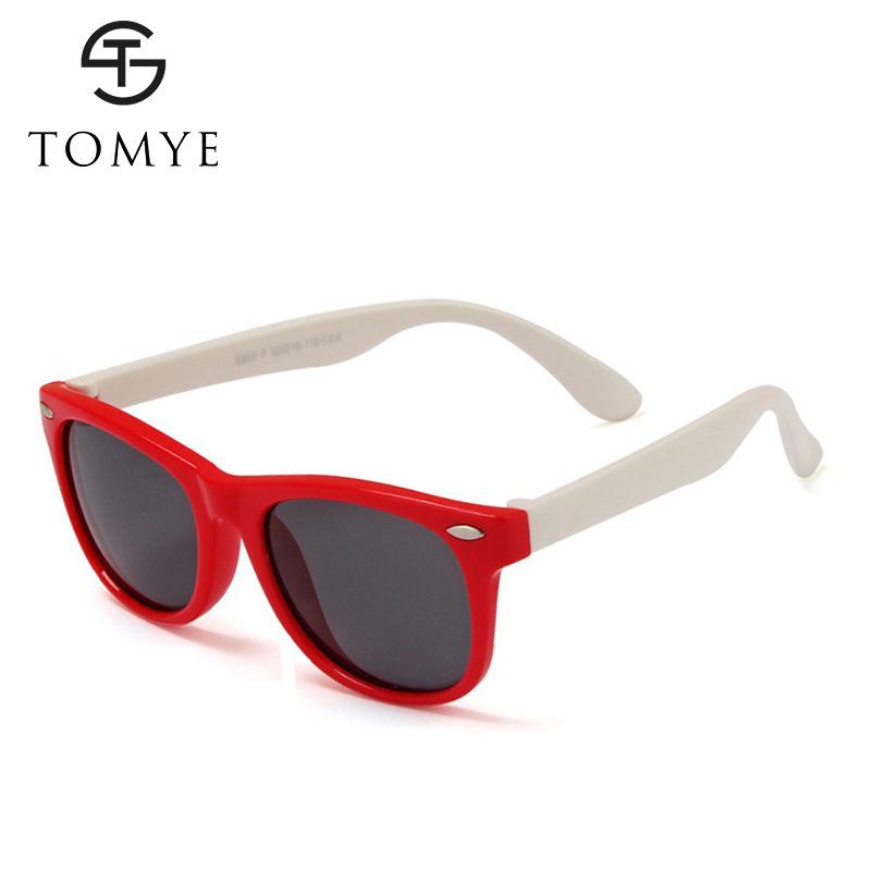 TOMYE 802 新款时尚儿童太阳镜女 硅胶偏光米钉眼镜男 一件代发