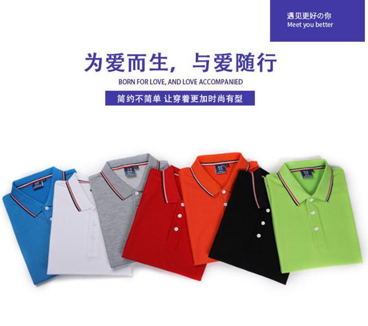 长绒棉POLO衫短袖定制 翻领T恤 广东文化衫定制工厂 免费印图