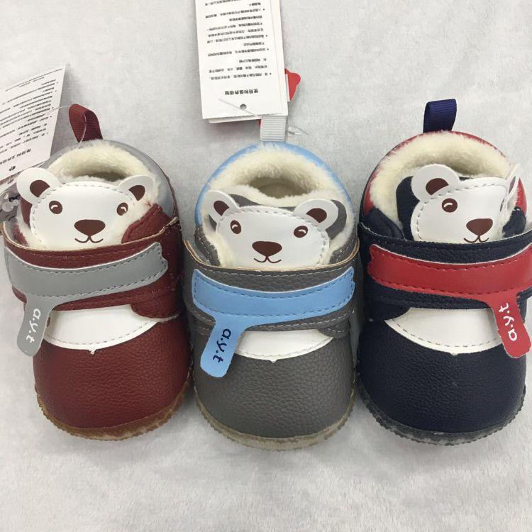 爱婴童shoes婴儿鞋0-1岁加绒加厚小皮鞋冬新款软底马克鞋宝宝鞋