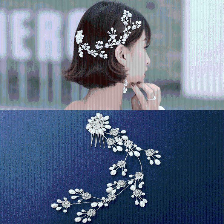 新品日韩版时尚女发饰手工编织镶嵌珍珠发箍头饰流行结婚配饰批发