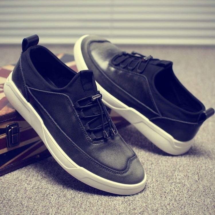 韩版潮流牛皮流行板鞋春夏季户外真皮青少年休闲男鞋系带学生鞋子