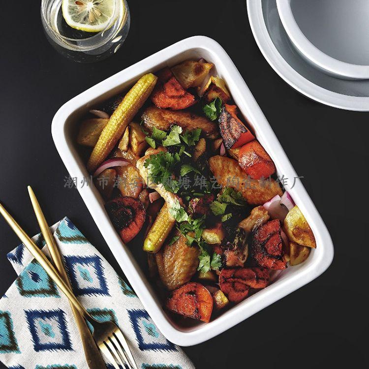 新品陶瓷烧烤盘 烤箱家用烘培盘 白地方形烤盘 酒店餐厅厨房用品
