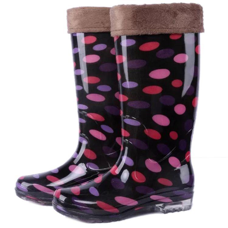 加绒新款时尚高筒胶鞋雨靴女士雨鞋防滑水鞋女式成人厂家批发圆点
