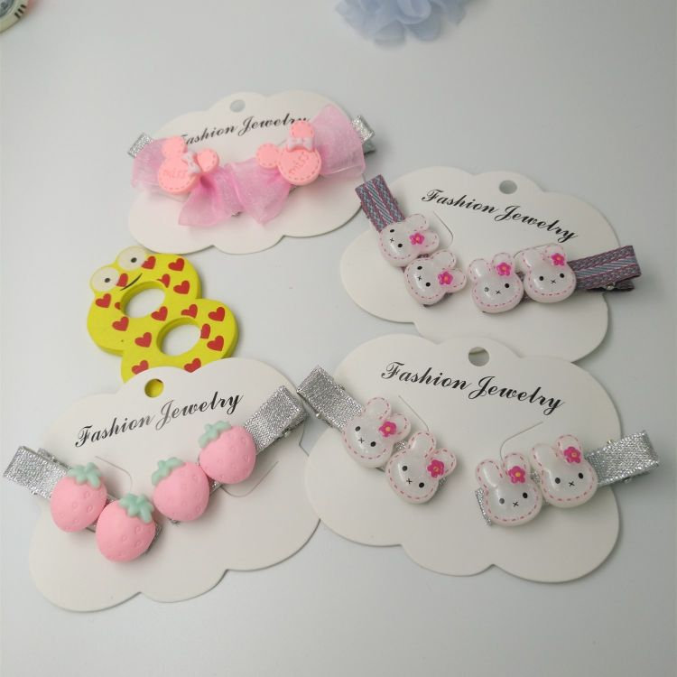 儿童女孩发饰头饰头夹发夹可爱小兔草莓米奇头对夹手工制作可定制