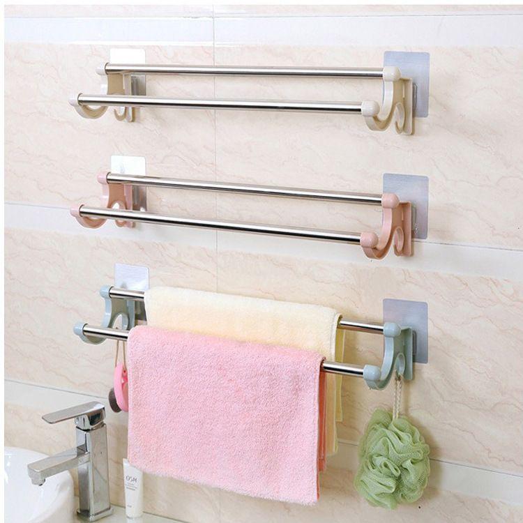免打孔双杆无痕贴毛巾架浴巾架 浴室卫生间不锈钢挂毛巾浴巾架