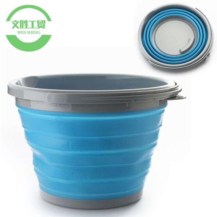 厂家直销 户外便携可折叠水桶 旅行便携折叠桶 硅胶多功能水桶