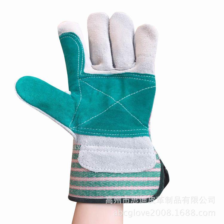厂家直销 牛皮加托手套 双层牛皮  劳保手套 绿托