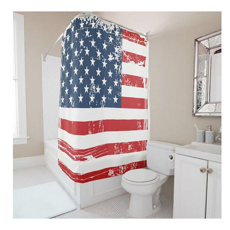 欧美跨境外贸涤纶浴帘 数码印花美国国旗 浴室淋浴防水防霉挂帘