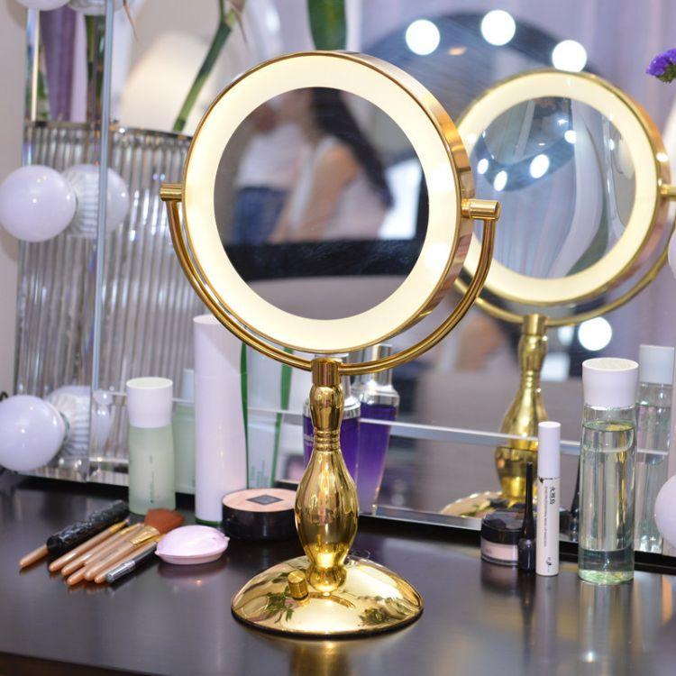 9寸大号带灯化妆镜 金色LED灯梳妆镜 双面美容镜子台式 黄白光