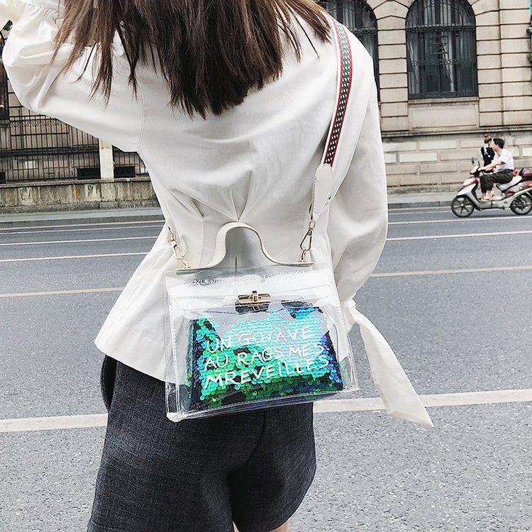 透明包女2018新款潮韩版百搭小手提包个性宽带夏天pvc单肩斜挎包