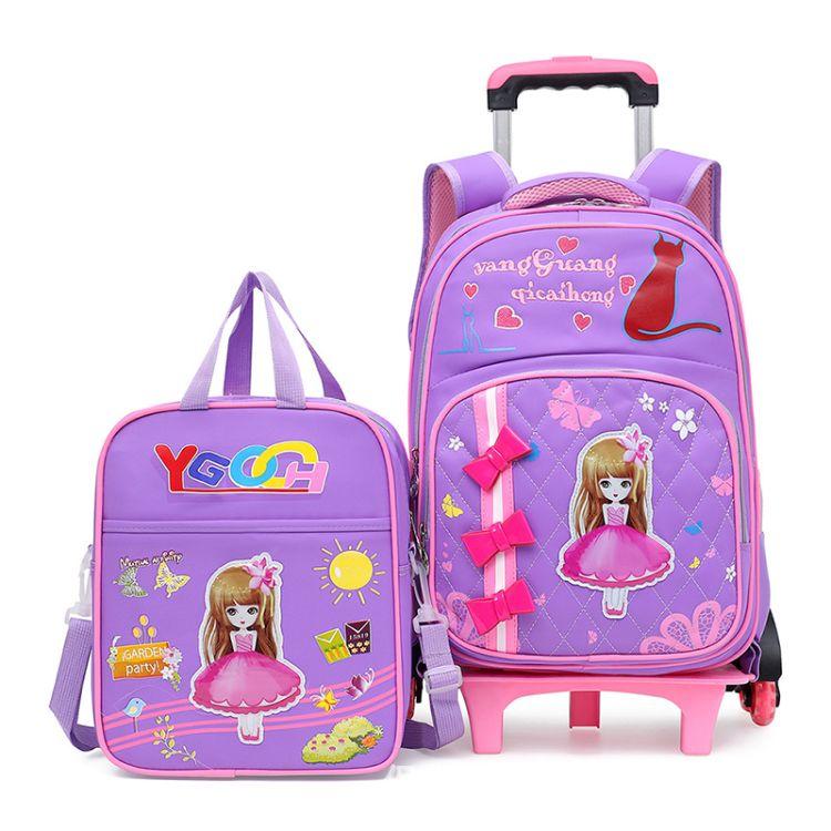 小学生六轮拉杆书包2-3-4-5-6年级男孩女孩小学生书包两用双肩包