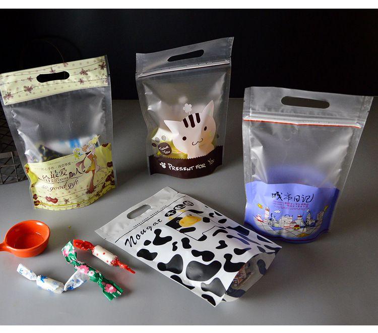 拉链手提袋牛轧糖包装袋雪花酥饼曲奇袋烘焙零食牛扎糖自立袋