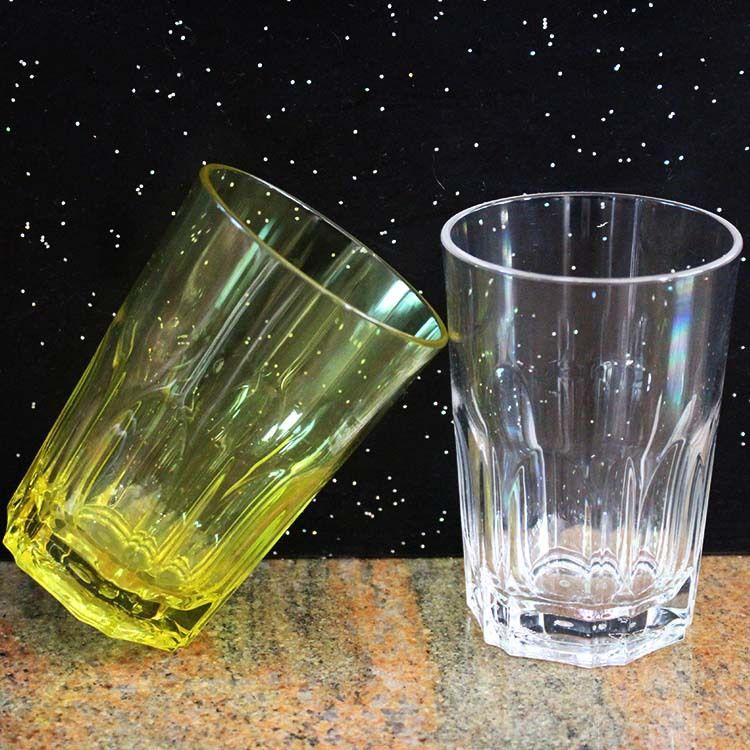 400ml塑料啤酒杯HY-1032半纹圆底杯塑料水杯AS杯PC杯