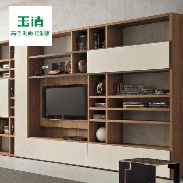 玉清全屋定制轻奢极简电视柜组合墙意式简约多功能背景墙纯实木