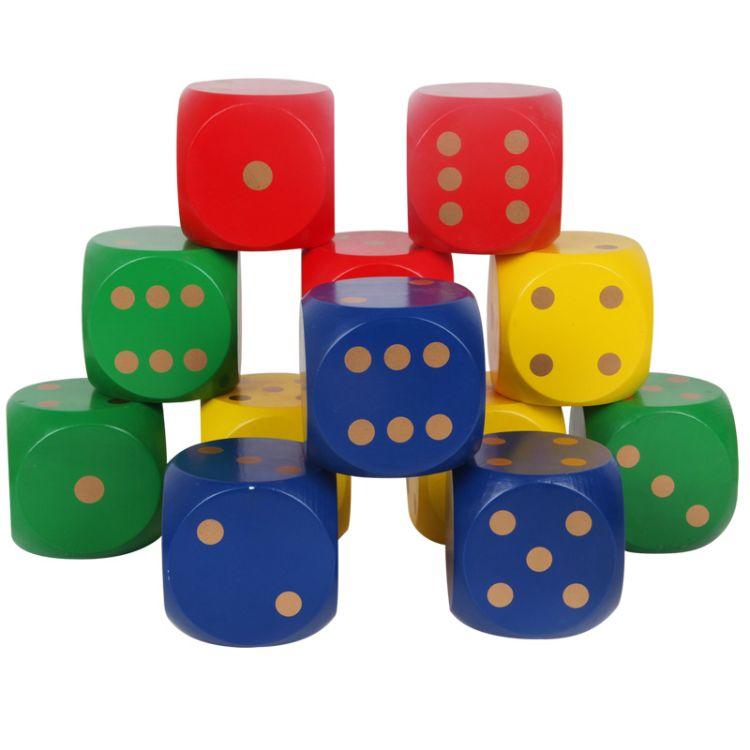 8cm厘米趣味烫印点数彩色木制筛子骰子工厂直销