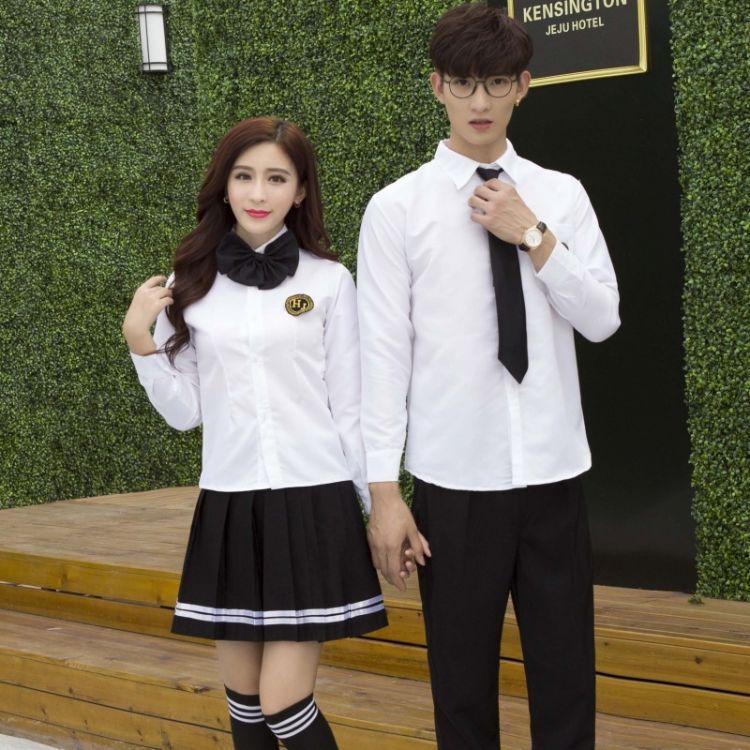 日系学院风初高中学生校服班服白衬衫JK制服情侣套装百褶裙演出服