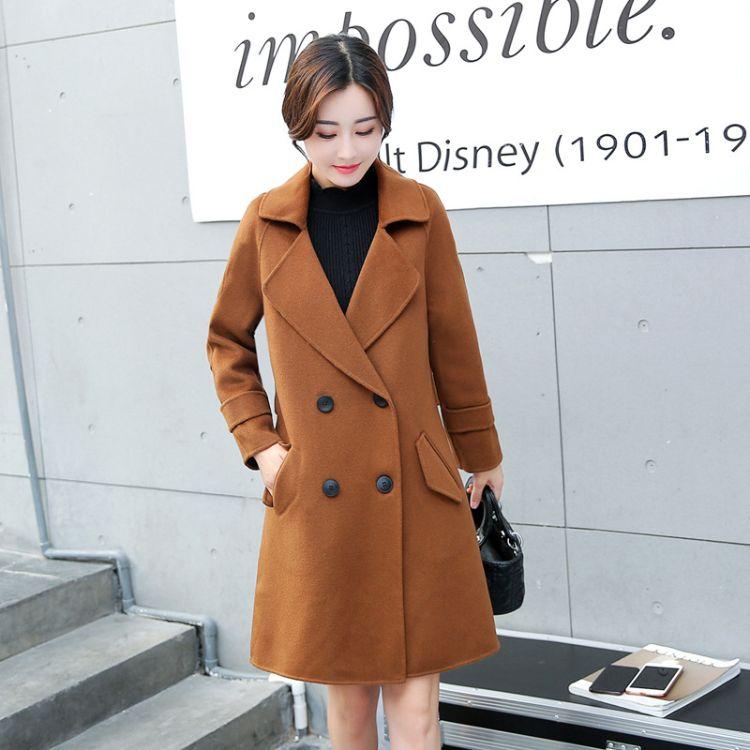包邮一件代发2018秋冬季新款百分百澳毛中长款双面呢大衣女双面绒