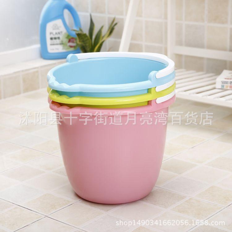 欧式加厚耐摔桶手提塑料水桶 洗衣泡脚洗车桶 家用带盖大号储