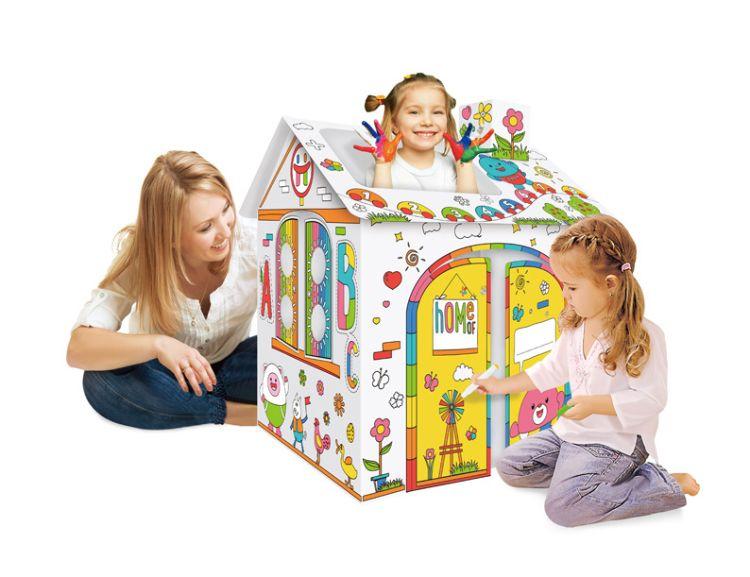 纸质环保儿童DIY纸房屋 幼儿园亲子 益智玩具 绘智力开发手绘涂鸦