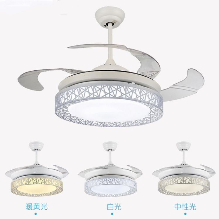 隐形吊扇灯卧室客厅餐厅电扇风扇灯简约现代带蓝牙音响电风扇吊灯