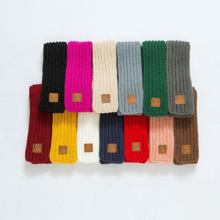 韩版新款儿童围巾秋冬季纯色手工针织小孩围脖甜美可爱厂家直销