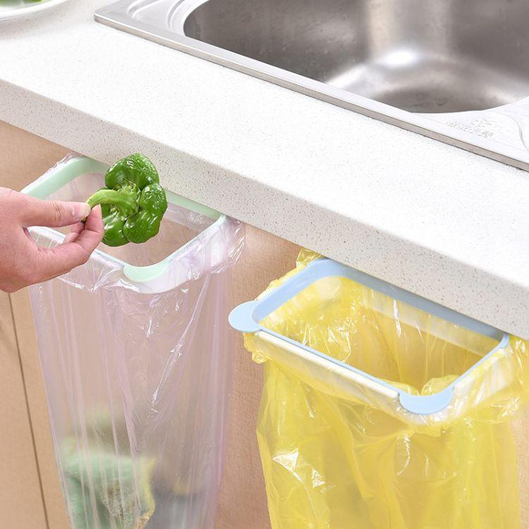 熊猫厨房门背式手提垃圾袋支架 家用橱柜门后抹布挂架垃圾架批发