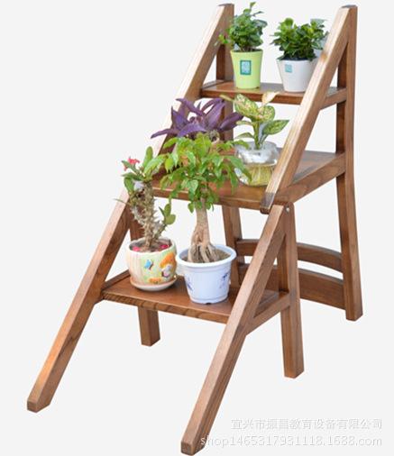 家用折叠楼梯椅 全实木梯子 椅子两用无现货需定制