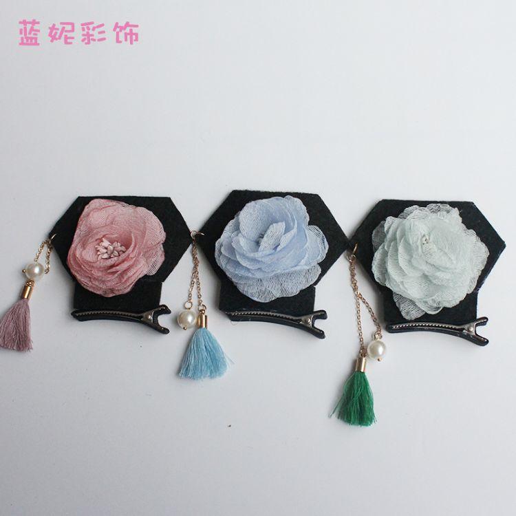 小格格发夹花朵头饰发卡边夹发饰咘咘同款清朝旗头流苏韩国夹子