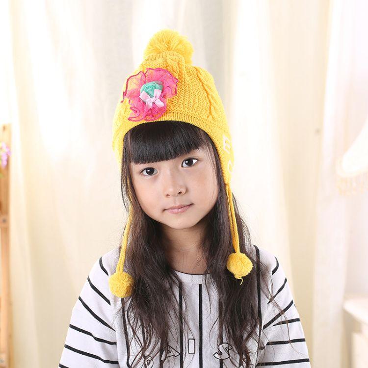 韩版针织毛线糖果帽 儿童秋冬天保暖手工帽子 可爱百搭遮耳帽
