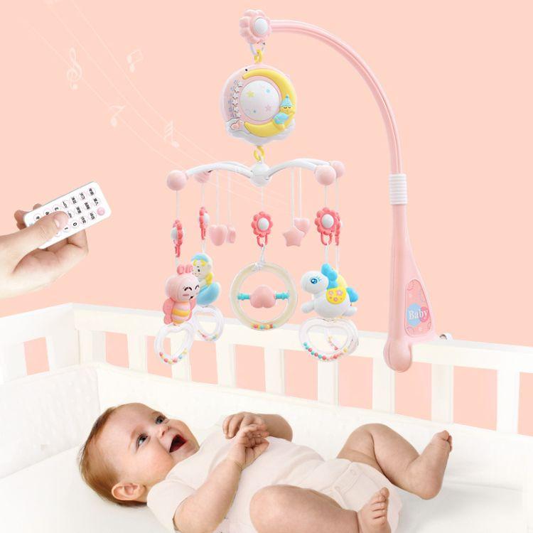 新生儿床铃0-1岁婴儿玩具3-6-12个月音乐旋转床头铃摇铃床挂件玩