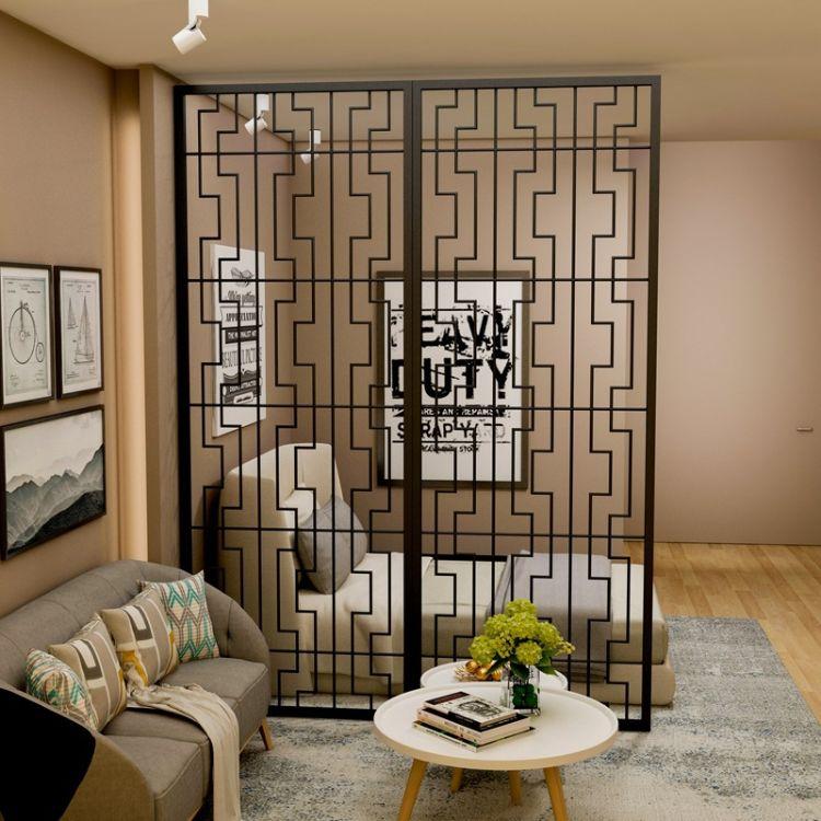 北欧简约铁艺隔断客厅玄关屏风欧式创意时尚镂空雕花工业风置物架