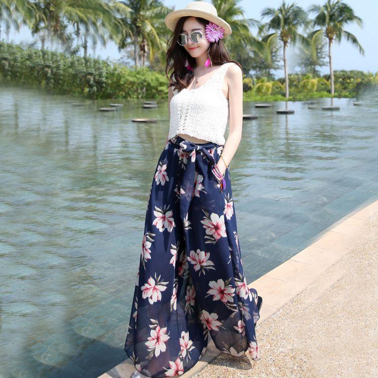 C160实拍夏季大码显瘦宽松波西米亚雪纺阔腿沙滩裤(上衣可另购)