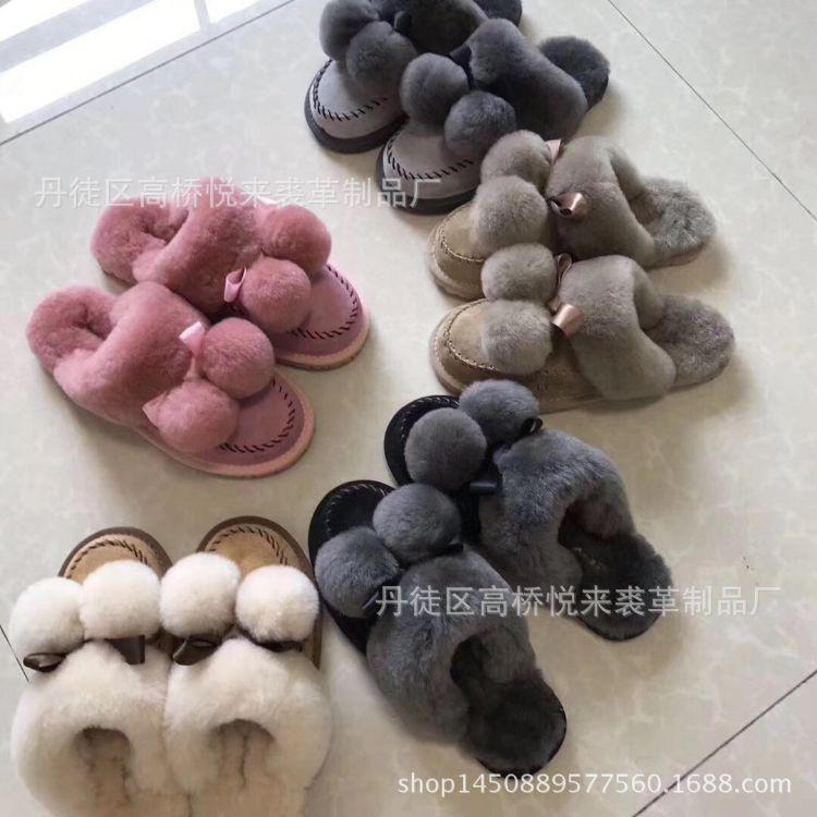 批发羊毛冬季棉拖鞋毛毛拖鞋女外穿羊毛家居皮毛一体室内一件代发